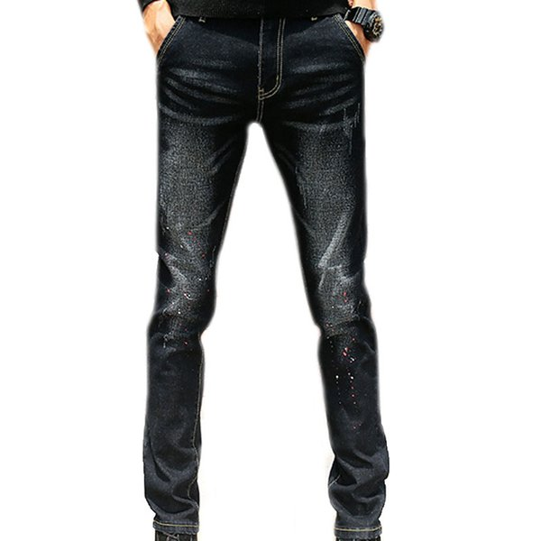 Fashion Men Jeans Mid Waist Scratched Men's Denim Jeans Stretch Printing Black Blue Straight Casual Trousers