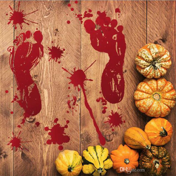 2018 Halloween Wall Stickers Horror Door Sticker Window Pumpkin Footprints Blood Handprint Stickers Halloween Decor DHL