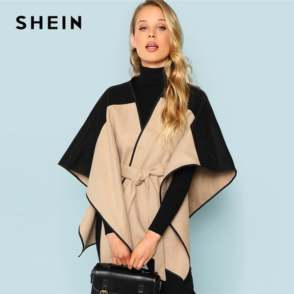SHEIN Khaki Cut and Sew Lace Up Coat Elegant 3/4 Sleeve Belted Outer Coats Women Autumn Modern Lady Highstreet Fashion Coats S18101204