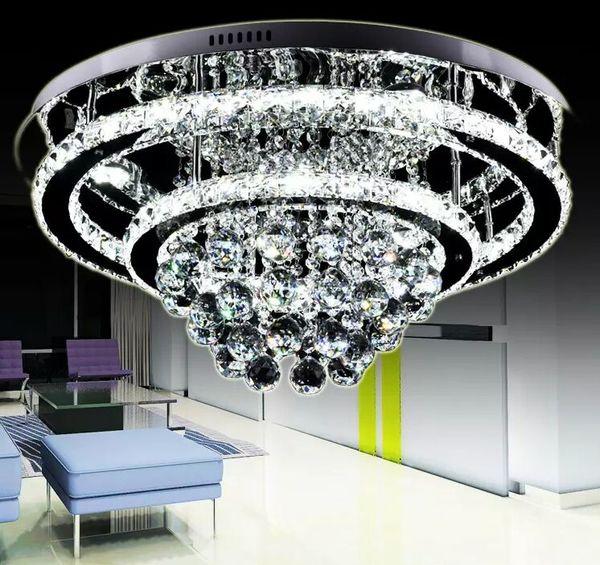Moderno Luxuoso Generoso Brilhante Aço Inoxidável LED Lustres de Cristal Luminárias de Teto Luminária Pingente Lâmpadas de Controle Remoto Inteligente