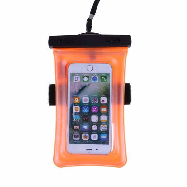 Waterproof Pouch With Flashing Alarm LED For Water Proof Diving Bag Outdoor Phone Case Underwater Phone With Neck Strap