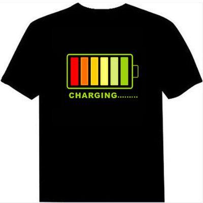 Fabrik Verkauf Sound Aktiviert LED T-shirt Licht Auf und ab Blinkende Equalizer EL T-Shirt Männer für Rock Disco Party DJ t-shirt