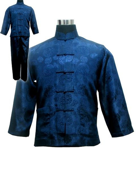 Navy Blue Chinese Men's Satin Kung Fu Suit Traditional Male Wu Shu Sets Tai Chi Uniform Clothing Plus Size S-XXXL MS002