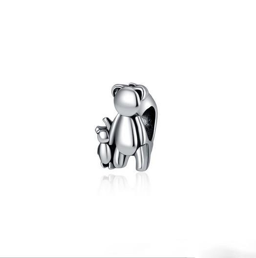 Fit Pandora Charm Bracelet European Silver Bead Charms Bear Mother & Baby DIY Snake Chain For Women Bangle & Necklace Jewelry Xmas