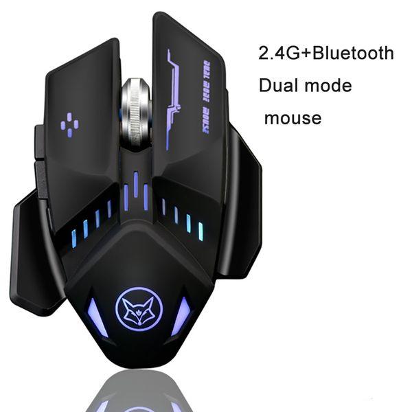 2018 neue Q11 bluetooth + 2.4G Dual-Modus 1600 dpi drahtlose wiederaufladbare Spiel Maus mit Kabel für LOL CF Spiel Maus Büro