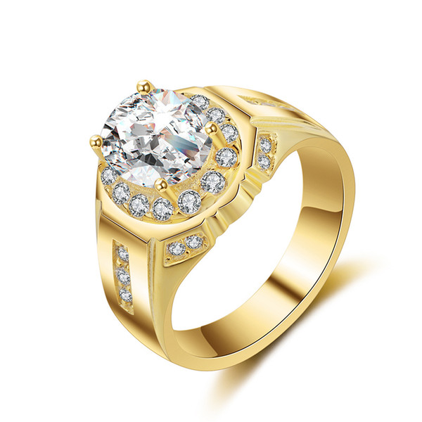 Luxury Fashion Men's Find Jewelry Platinum White Gold plated CZ Diamond Wedding Rings 18K Gold RING for Men