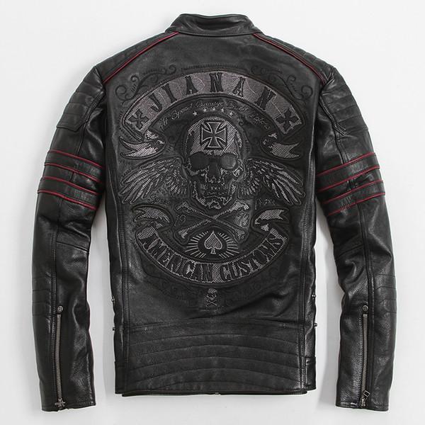 2017 Erkekler Siyah Kafatası Nakış Deri Motosiklet Ceket Gerçek Kalın Inek Derisi Slim Fit XXXXL Rus Deri Ceket ÜCRETSIZ KARGO