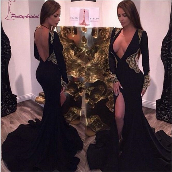2019 Sexy Deep V Neck Mermaid Evening Dresses Long Sleeves Applique Prom Split Backless Dresses Sweep Train Black Prom Pregnant Party Gowns