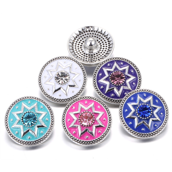 New Arrival Snap Jewelry Flowers 18mm Snap Buttons Noosa Interchangeable Jewelry DIY Bracelets Metal Snap Buttons