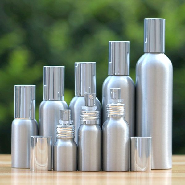 20-50pcs de alto grado 20-500ml Aluminio plateado vacío aerosol Fina Mist Recarga frasco de aerosol cosmético Muestra de subpaquete de viaje