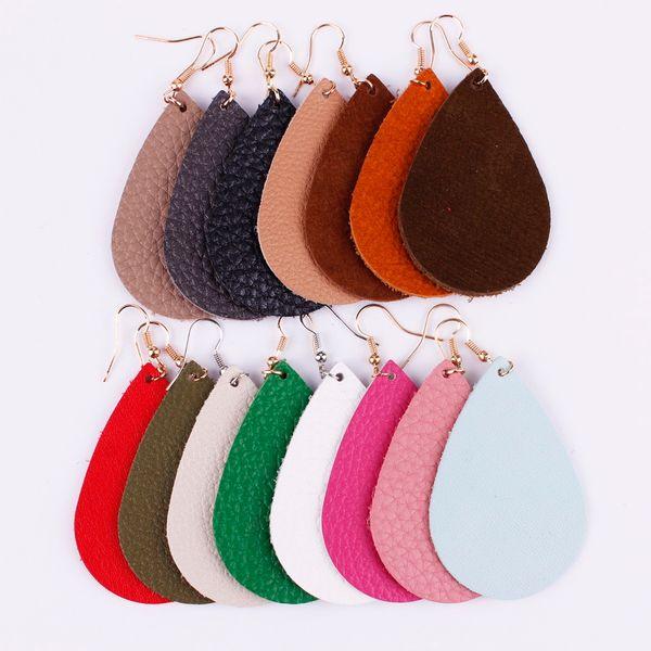 best selling Hot Selling Bohemia Jewelry Fashion New Metallic Genuine Leather Teardrop Earrings Women 2018 Summer Statement Water Drop Leather Earrings