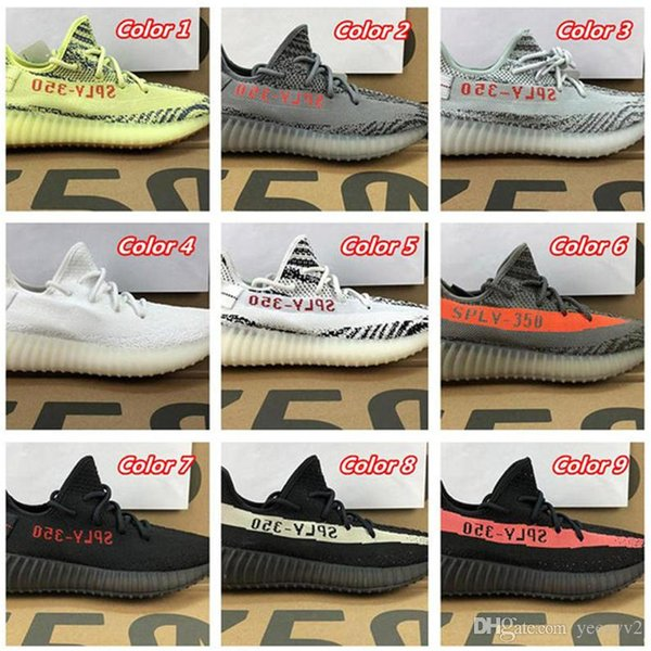 1391ec96a10 With Box 350 V2 Blue Tint Yellow Beluga Cream White Black Shoes Women And  Men Boost