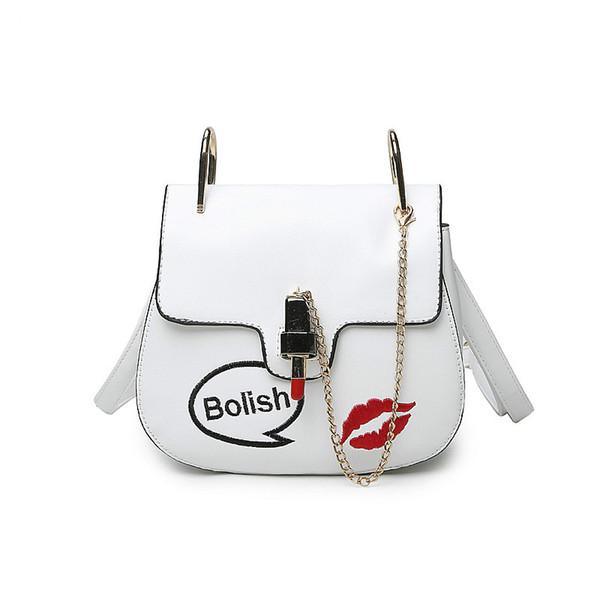 Hot Sale Bolish Brand Summer Casual PU Leather Women Shoulder Bag Fashion Lipstick Shape Lock Women Small Chain Messenger Bag