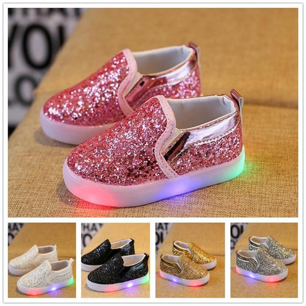 10 pares Crianças Brilhando Tênis Meninos Meninas Meninos Luz LED Sapatos Da Criança Anti Slip glitter Lantejoulas Esportes Sapatos Casuais Y172