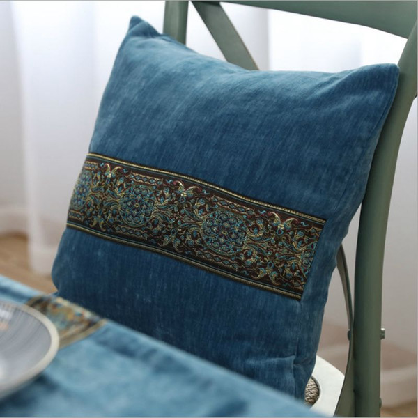 autumn home decoration blue velvet cushion cover 60*60 sofa chair couch throw pillow case chaise cojines 45cm vintage almofada