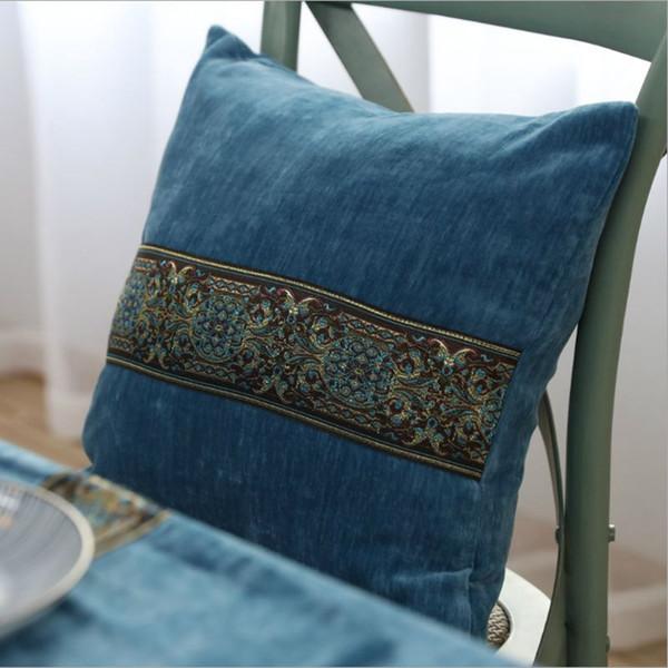 осень украшения дома Синий бархат чехлы 60 * 60 диван кресло диван бросить наволочку шезлонг cojines 45 см винтаж almofada