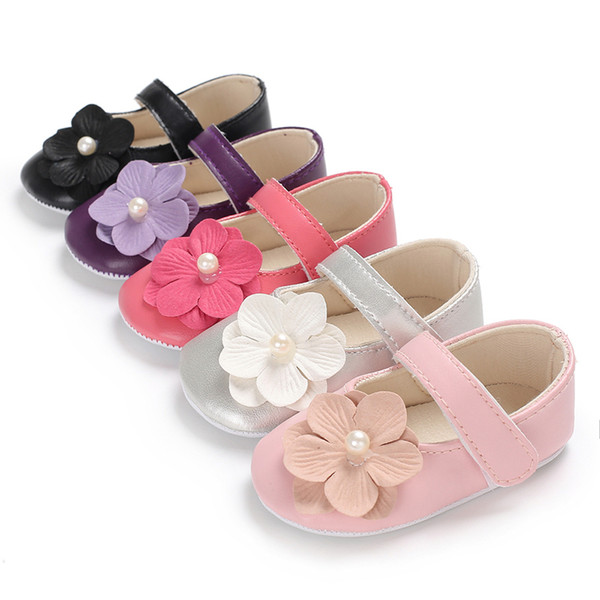 Baby Girls PU Leather Shoes with Flower Close-toe Adjustable Closure Design Soft Sole Spring Autumn Shoes Infant First Walkers Shoes