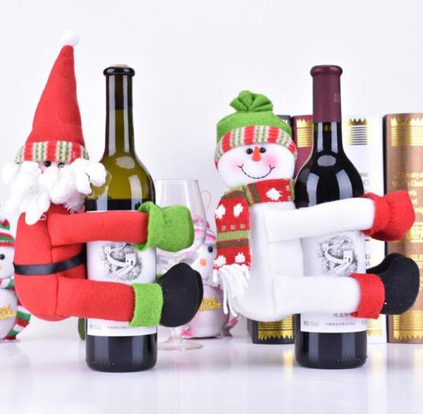 Decoraciones caseras de Navidad viejo hombre muñeco de nieve botella de vino cubierta con una botella de vino ornamento
