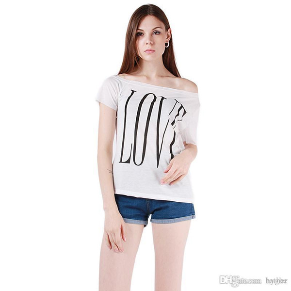 Wholesale-New Summer Women t shirt Short Sleeve Tees T Shirts Sexy Off Shoulder Tops White Black Letter LOVE Print Tees Plus Size DP658932