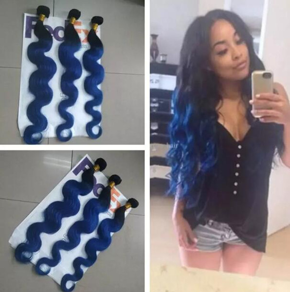 Brazilian human hair weave Ombre blue body wave hair bundles black and Blue two tone color weaves 10-28inch Indian hair extensions
