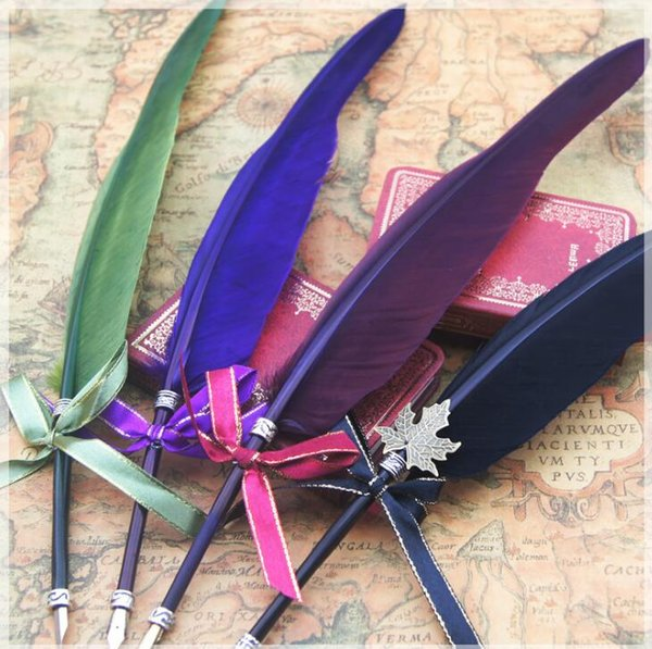 16 Colors Feather quill Pen Color ink pen Stationery Feather Shape Pen For Student Christmas birthday gift LJJG491 50pcs