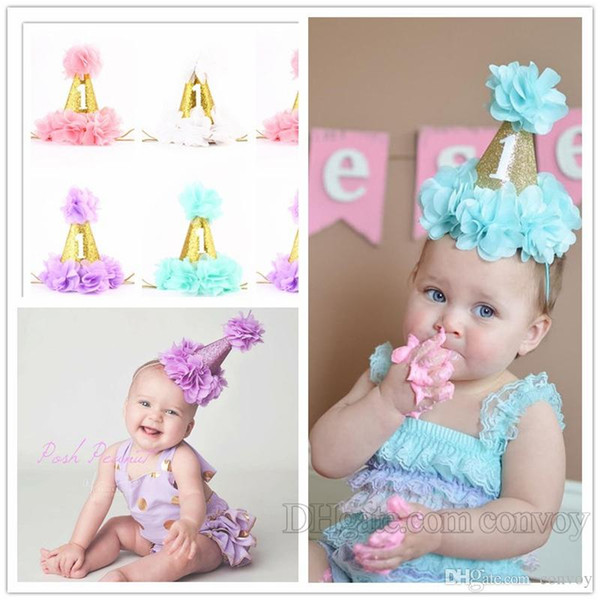 Baby Girls Flower Crown Headbands Children gold crown hairband kids hair accessories princess Birthday party photography Headbands KHA439
