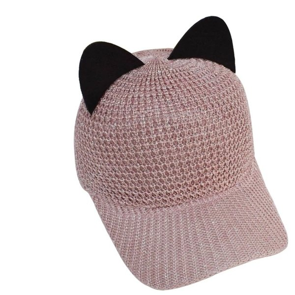 Pure color cat ears hat female summer tide Korean air permeability sell sweet and lovely Cape net cap sun shading