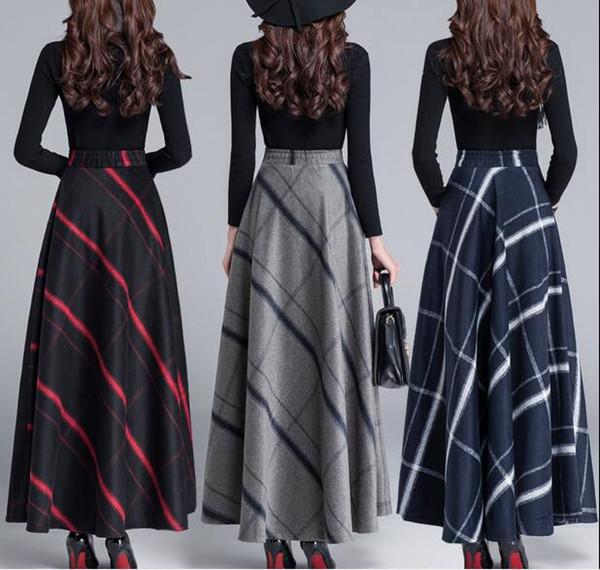 c842da2df Compre Falda Larga De Invierno Ropa De Moda Para Mujer Falda Larga De Lana  Gruesa Falda Vintage De Cintura Alta Lana A $54.28 Del Westshop58 | ...