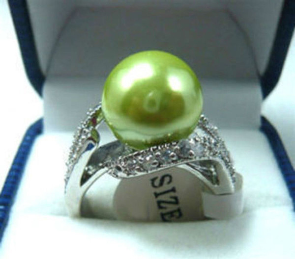Charming! Apple Green South Sea shell pearl Round Bead ring size 6 7 8 9