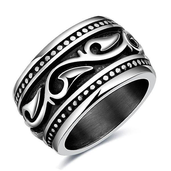 2018 Black Wave Ring Men Titanium Steel Stainless Steel Ring For Women Boho Punk Style Jewelry Fashion Motor Biker Men A2