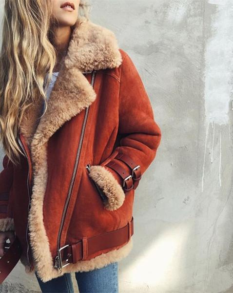 Frauen Wintermantel Sherpa Fleece warme Designer Oberbekleidung Flanell Revers Hals Mantel äußeren Mantel Mantel plus Größe Tops S-5XL DHL