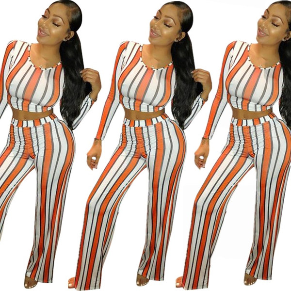women sexy stripes o-neck full sleeve short tee crop top + straight loose long pants two pieces suit outfit romper