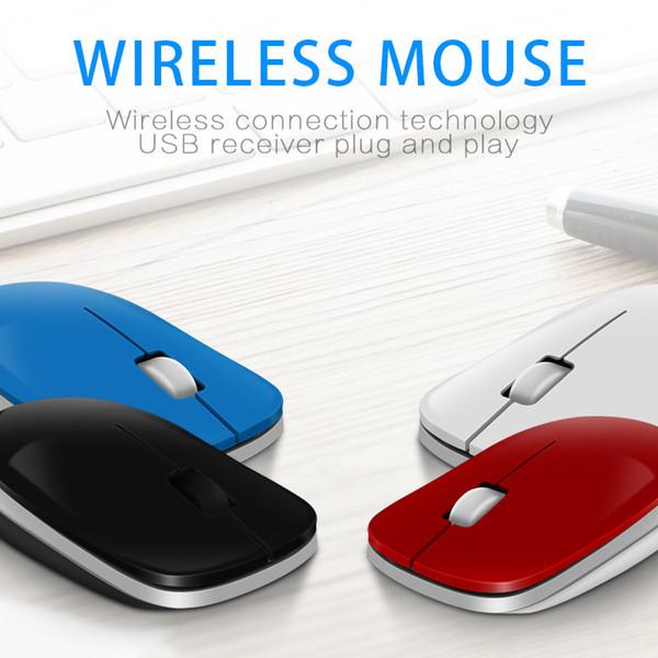 2.4G Mouse Sem Fio Portátil 1600 DPI Óptico Ratos para Computador PC Portátil Gamer Receptor USB Preto Azul Vermelho Branco Cor Do Rato