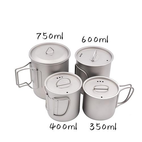 Pure Titanium Folding Handle Mug with Lid 350ml 400ml 600ml 750ml Light Tea Coffe Cup Heatable Healthy Anticorrosion Portable for Outdoors