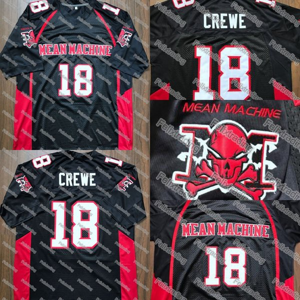 Paul Crewe #18 Mean Machine Jersey Paul Crewe #18 Stitched Movie Jersey Men Black Free Shipping