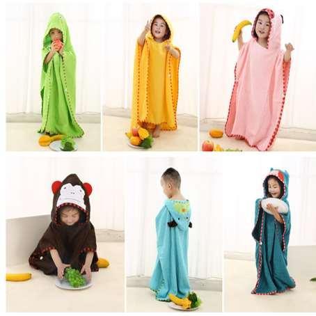 Animal Hooded 100% otton baby Bath Towel 70*140cm boys girls beach towel 0-14 years children hooded towel cartoon duck dog