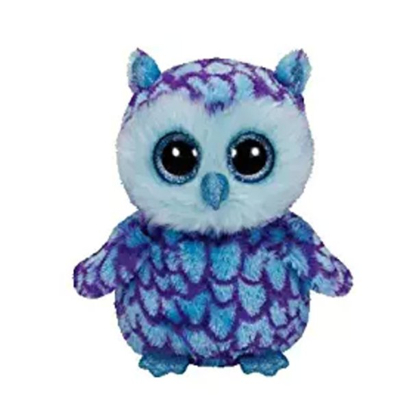 "Ty Beanie Boos 6"" 15cm the Blue Owl Plush Regular Soft Big-eyed Stuffed Animal Collectible Doll Toy"