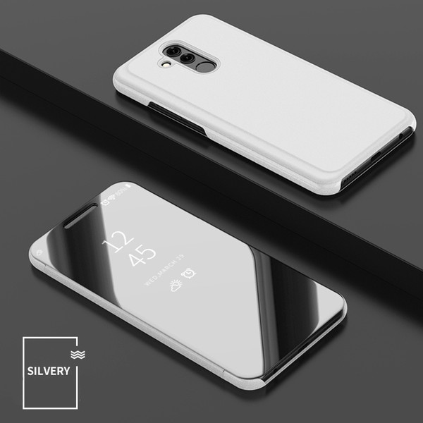 50pcs Luxury Mirror Clear View Case for Huawei Nova 4 Mate 20 P30 Lite pro P Smart 2019 Phone Cover Plating Base Vertical Stand