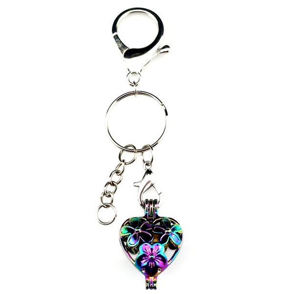 Key Chains Keychain Silver Plated Key Ring Clasp With Flower Beads Cage Locket Y401 Fun Gift
