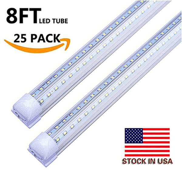 US Stock+Integrated Led Tubes V-Shaped 4ft 5ft 6ft 8ft Cooler Door Led Tubes T8 Double Sides SMD2835 Led Fluorescent Lights AC 85-265V