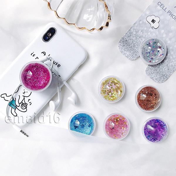 Support de téléphone portable universel 360 degrés Quicksand Glitter Phone Holders Grip pour iPhone bague monte avec Retail Box