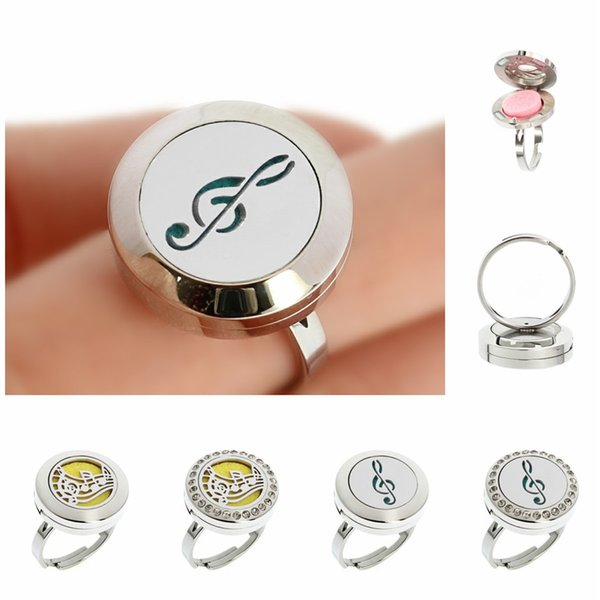 Rhinestone Open Cuff Diffuser Locket Ring 20mm Essential Oils Aromatherapy Diffuser Locket Ring 10pcs of Free Pads