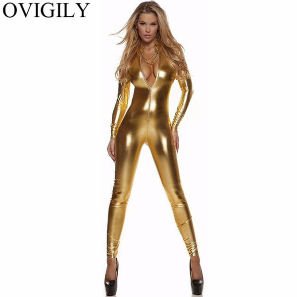 OVIGILY Women's Full Body Suit Black Long Sleeve Catsuit Female Lycra Red Front Zip Metallic Unitard Turtleneck Bodysuit Costume
