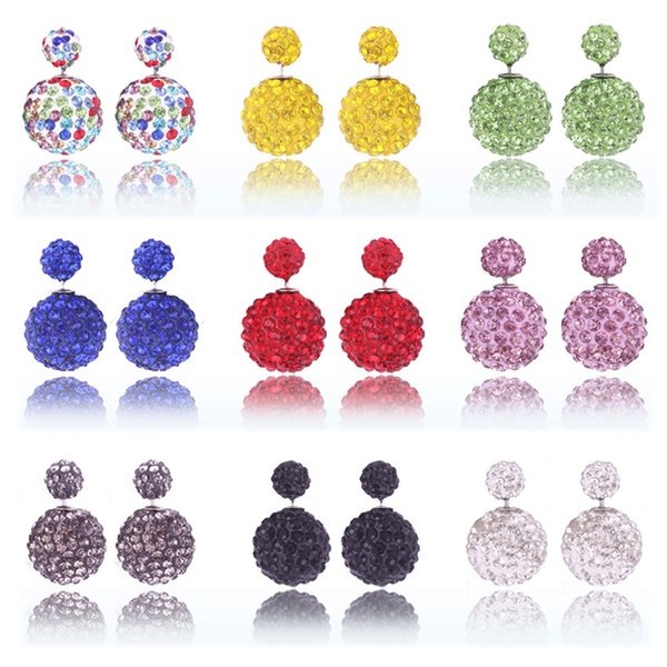 High quality New Double sided Shambala Ball Earrings Fashion Jewelry Diamond Crystal Disco Beads Earings T2C106