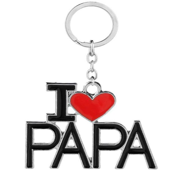 I Love DAD MOM MAMA PAPA Keychain Letter Red Heart Love Key Chains Rings Fashion Jewelry for mother father gift Free shipping