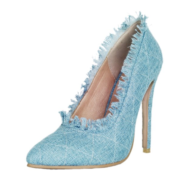 Zandina Ladies Women Handmade High Heel Pumps Demin Leather Ruffles-Tassel Simple Vintage Style Garden Home Wear Fashion Shoes A035