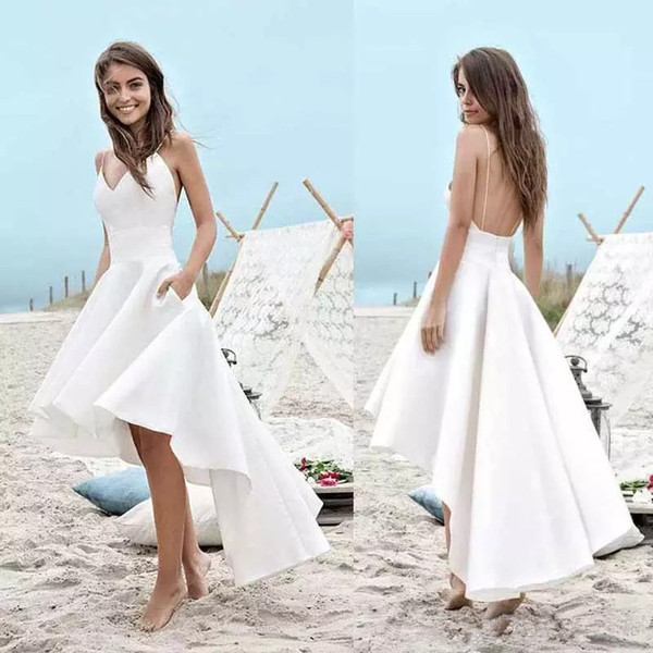 High Low Short Wedding Dresses Cheap Summer Bridal Gowns with Pocket A Line Vestido De Noiva Merry Sexy Straps Satin Wedding Gowns Simple