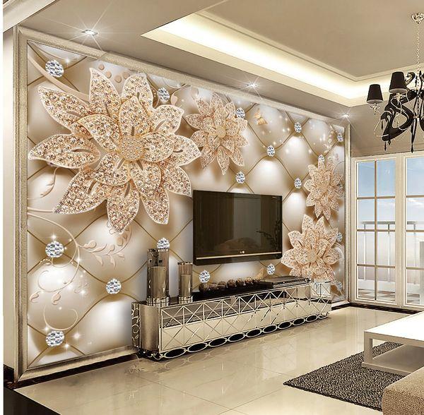 Custom Retail 3D Diamond Soft Bag Diamond Flower Jewelry TV Indoor  Background Wall Decoration Mural Wallpapers Backgrounds Wallpapers Desktop  From ...