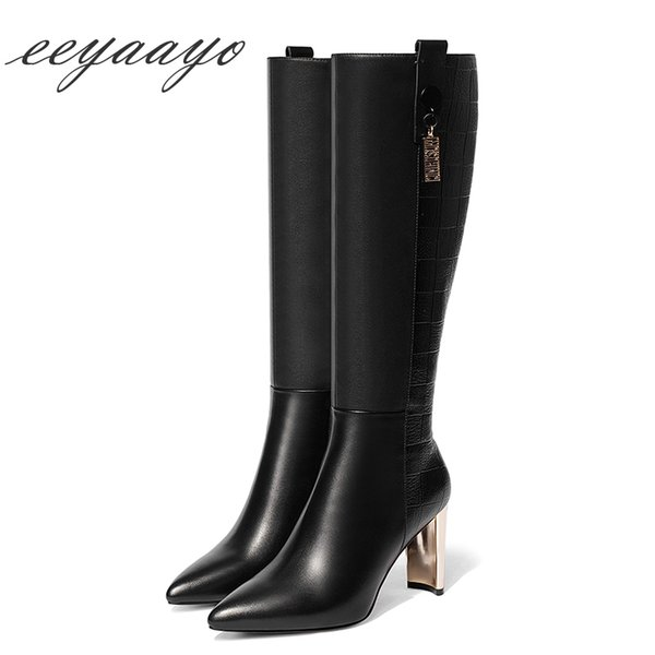 2018 New Genuine Leather Winter Women Knee-High Boots High Heel Pointed Toe Sexy Ladies Women Cow Leather Shoes Black boots