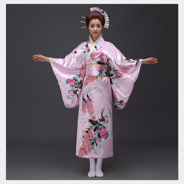 Pink Traditional Women Silk Satin Kimono Yukata With Obi Performance Dance Dress Japanese Cosplay Costume Flower One Size